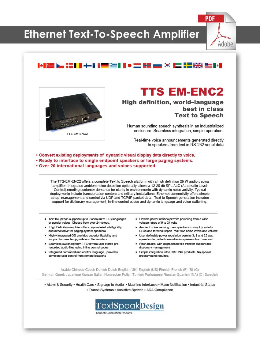 TextSpeak Document Text To Speech Ethernet Amp