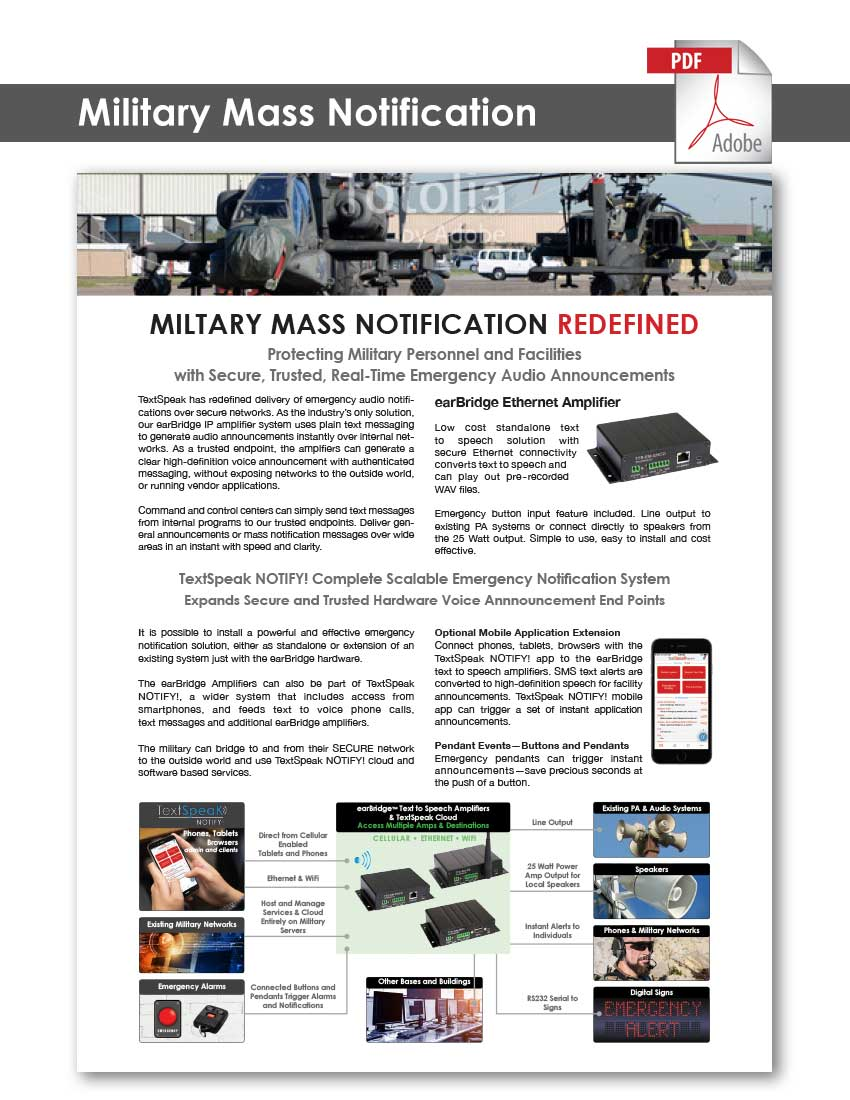 TextSpeak Document Military Mass Notification