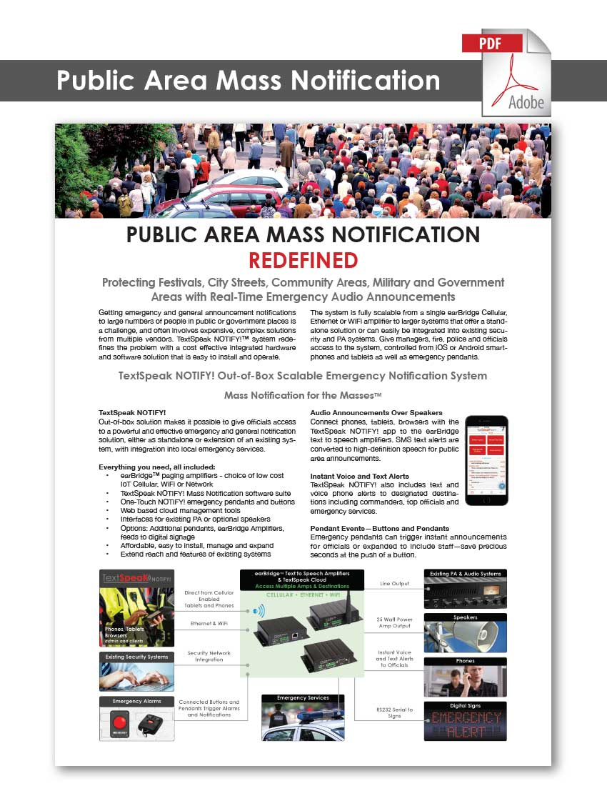 TextSpeak Document Public Area Mass Notification
