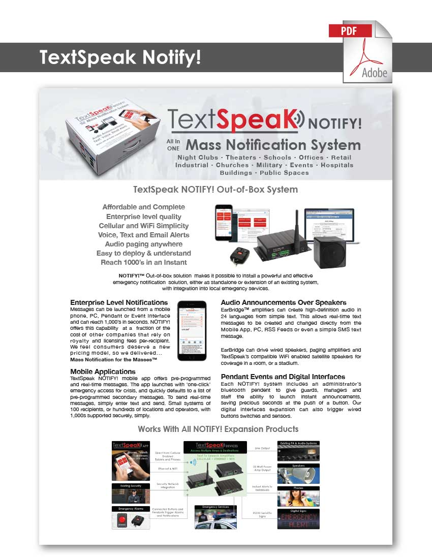 TextSpeak Document TextSpeak Notify